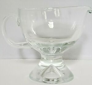 Clear Blown Glass Pedestal Footed Gravy Boat/Small Pitcher Heavy Thick Glass