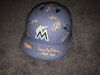 2018 MIAMI MARLINS TEAM SIGNED LOGO FULL SIZE BASEBALL BATTING HELMET PROOF COA