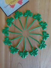 SHAMROCK Cupcake Picks Set of 12 Green Plastic Clover St Patrick's Day Irish