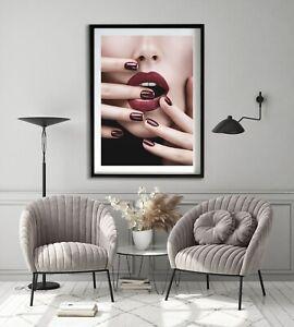 Plum pout lips portrait Wall Art Print, Canvas A4,A3,A2,A1,A0, On trend