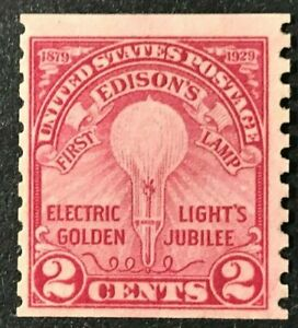 US Sc#656 1929 Edison's 1st Lamp Coil Mint NH OG VF (6-66)