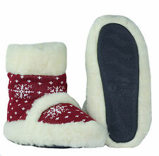 New Natural Sheep Wool Slippers Home Bootie Shoes   US SELLER Size 9.5-10 Red