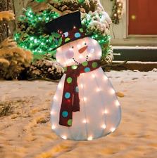 "32"" Lighted Victoria Hutto Snowman Sculpture Christmas Yard Decor"