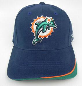 MIAMI DOLPHINS NFL NAVY REEBOK VINTAGE STRAPBACK OLD LOGO RETRO CAP HAT NWT!