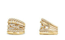 yellow Gold Plated Silver & Cz Rope Ring Stack Five Row Rind With Cz Dia 14k
