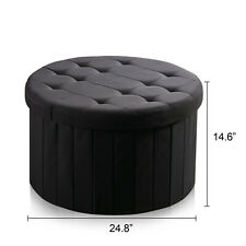 Fabric Large Storage Bench Ottoman Chest Round Folding Box Foot Rest Footstool