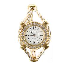 Gold Tone Rope Lady Rhinestone Wrist Watch Bangle Bracelet Cuff T9