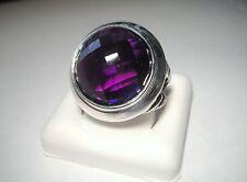 David Yurman Sterling Silver Round Amethyst Ring