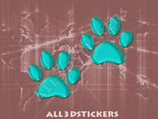 3D Sticker Decal Resin Domed Paws Adhesive Decal  Turquoise