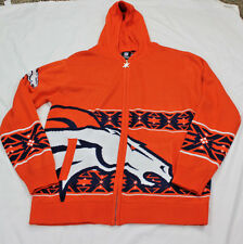 Denver Broncos Official NFL Full Zip Hooded Sweatshirt by Klew Size Large L