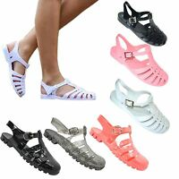 Womens Retro Jelly Flat Flip Flops Ladies Girls Summer Beach Sandals Shoes Size