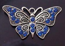 1 Large Tibetan Silver and Dark Blue Rhinestones Butterfly Charm Pendant TSC84A
