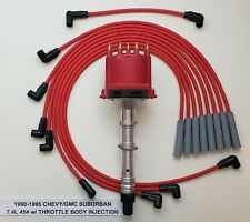 1990-1995 7.4L 454 CHEVY/GMC SUBURBAN TBI DISTRIBUTOR + 8mm RED Spark Plug Wires