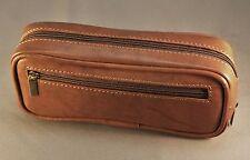 NEW! Premium CALF ANTIQUE BROWN leather pipe tobacco pouch / case