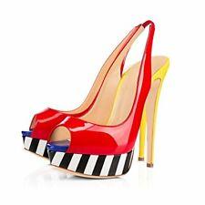 Women Platform High Heel Striped Sandals Slingback Open Toe Patent Leather Shoes