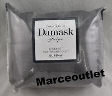Charter Club Damask Stripe 550 Thread Count KING Sheet Set Granite Gray