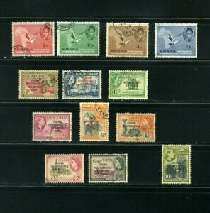 GHANA, SCOTT# 1-13  MAP  AND GOLD COAST overprinted >>{13} MAR 6  1957
