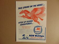 1946 Pegasus flying horse art Mobil Gas Spring on the Wing print ad