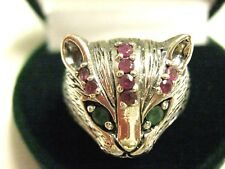Sterling Silver 925 Emerald Ruby 3 dimensional Cat Face Ring US 8