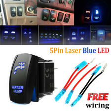 5 Pin Blue Laser Etched LED Rocker Switch Dual Light 20A 12V On/Off - WATER PUMP