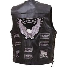 Mens Black Leather Biker Motorcycle Harley Rider Vest Graytone Patches Size 4XL