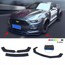 3x ABS Front Bumper Lip Spoiler Splitters Body Kit Black w/ Blue Line Universal