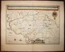 carte geographique originale du POITOU CHARENTES par JOHANNES BLAEU 1650