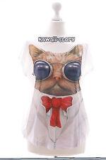 TP-15 Cool Katze Cat Schleife süß Print kurzarm T-Shirt Lolita Harajuku Japan
