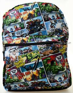 """Marvel Iron Man Hulk Captain America Thor Avengers Boys Large Backpack 16"""" Gift"""