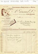 Dépt 69 - Lyon Oullins 9 Rue du Perron - Belle Entête Savonnerie Parfumerie 1928