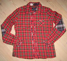GANT Langarm Bluse Karo XL 146 152 Rot Blau Baumwolle Rüschen Patches wNeu