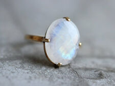 Faceted Rainbow Moonstone Gemstone 14K Yellow Gold Gift Prong Set Ring Size 8