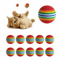 10x Soft Rainbow Interactive Non-toxic Cat Pet Toy Balls Training Kit