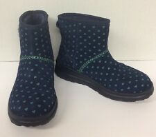 I Love UGG Boots Navy W/blue Hearts Women's Ankle Size 6 US / 37 EU Sherpa Lined