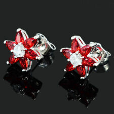 Pretty New 18K White Gold Plated Marquise Cut Ruby Red CZ Flower Stud Earrings
