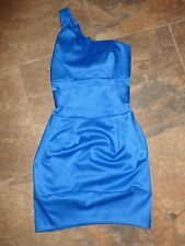 River Island Dress Size 6 NEW Electric Blue One Shoulder Satin Wedding Party