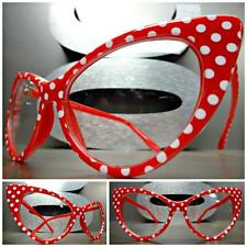 575f147f7aa7 VINTAGE 50s RETRO CAT EYE Style Clear Lens EYE GLASSES Red White Polka Dot  Frame