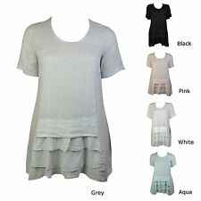 Linen Scoop Neck Casual Tunic Dresses for Women