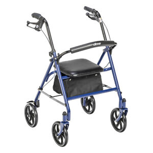 Drive Medical Four Wheel Rollator Rolling Walker with Fold Up Removable...