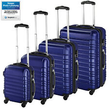 Set of 4 piece travel luggage wheel trolleys suitcase bag ABS hard shell blue