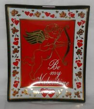 Vintage Mcm Smoked Glass Red & Gold Tray Be My Valentine w/ Cupid & Hearts