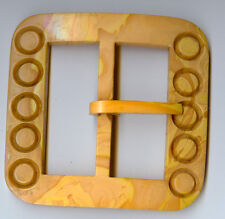 Large Vintage Yellow Marbled Bakelite Big Square With Circles Belt Buckle