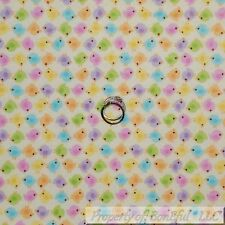BonEful Fabric FQ Cotton Flannel Cream Pastel Stripe Easter Peep Bird Chick Girl