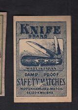 Ancienne étiquette Allumettes  Japon  BN10443 Couteau