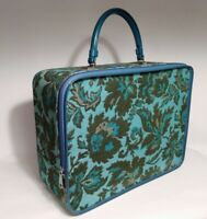 VTG 60's Avon Lady Suitcase Blue/Green Tapestry Sample Carry Case Luggage EUC