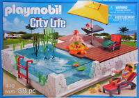 PLAYMOBIL 5575 Einbau Swimmingpool Schwimmbecken Terasse Junge Liege Schirm NEU