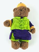 """Shanghai Tang New Stuffed Brown Teddy Bear 11"""" Green Purple Chinese Outfit Auth"""
