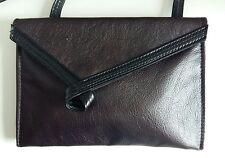 Small Size Leather Handbag Darkest Purple And Black With Twist Detail Handmade