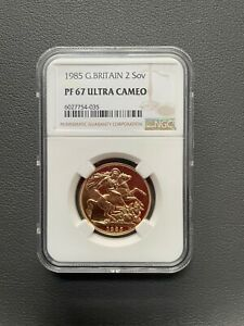 1985 Gold Proof £2 Double Sovereign Ultra Cameo PF69 NGC Two Pound Double