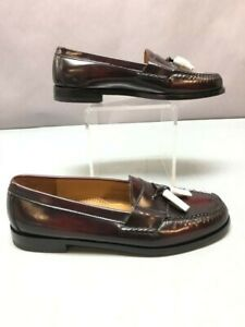 Cole Haan Men's 10.5 Pinch Tassel Burgundy Shoes Loafers Leather -New